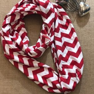 Red and White Stripped Infinity Scarf